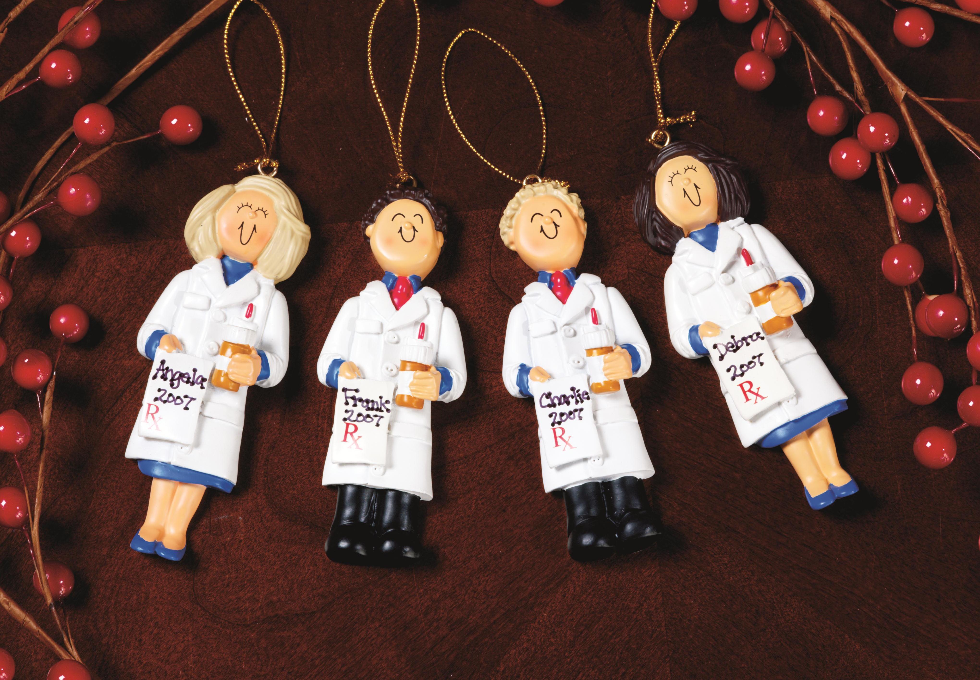 pk145 male blonde pharmacist ornament - Pharmacy Christmas Ornaments