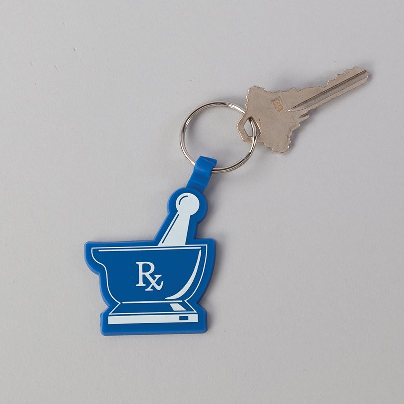 Blue and White Rubber Keytag